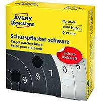 Avery zweckform 3522 schusspflaster ø 19 mm, 1000 étiquettes noires