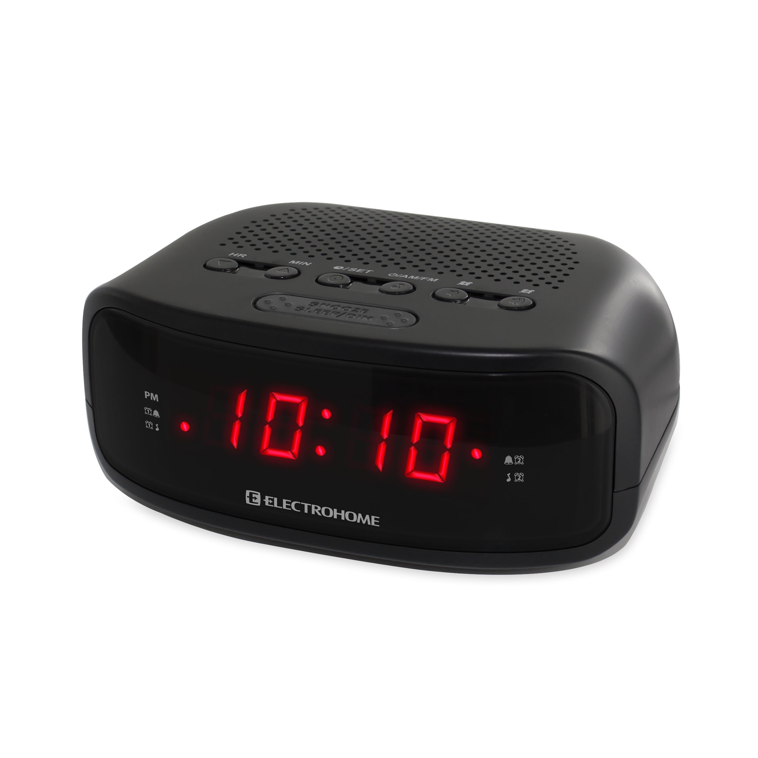 Electrohome Digital AM/FM Clock Radio with Battery Backup, Dual Alarm, Sleep & Snooze Functions, Display Dimming Option (EAAC200)