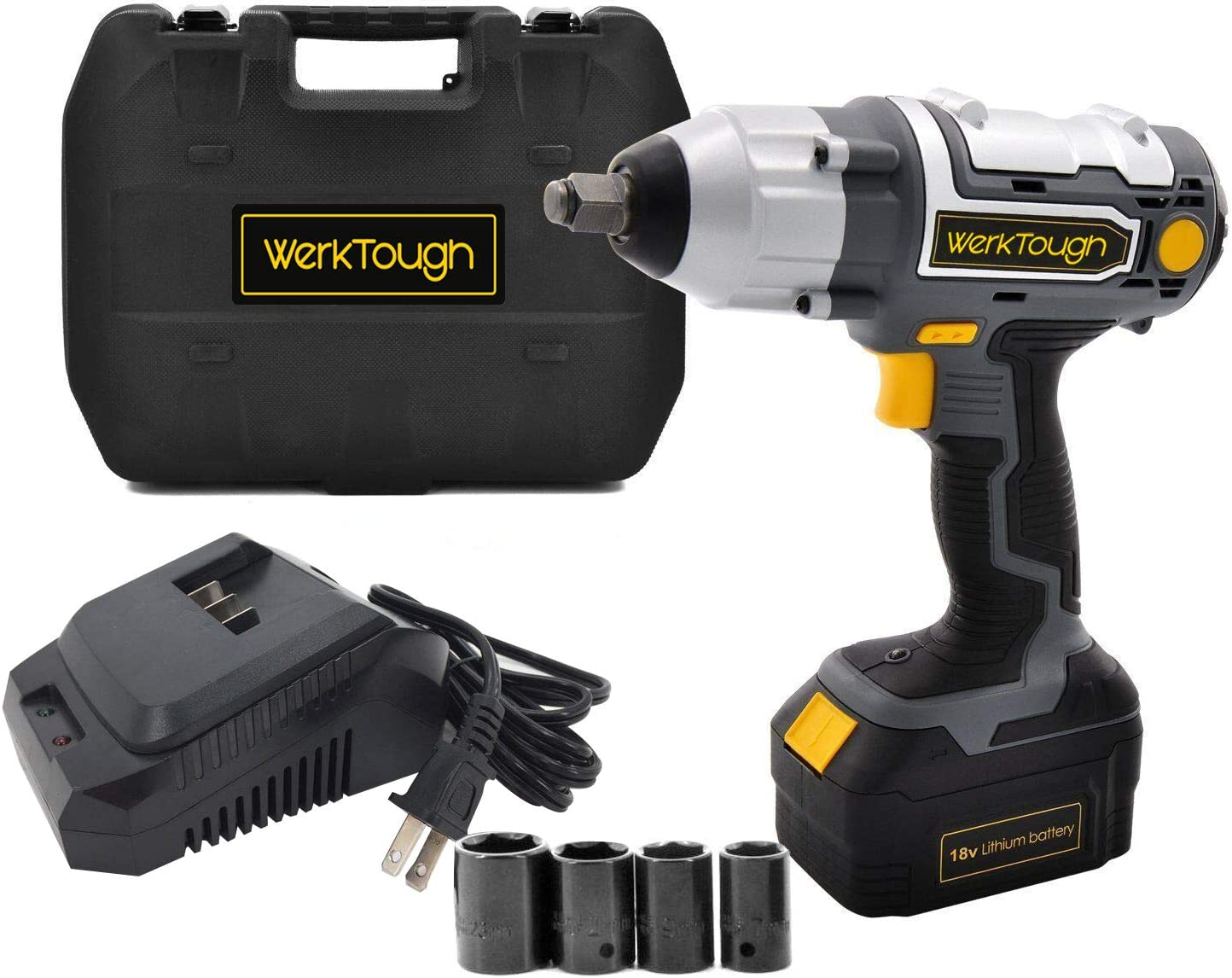 Werktough 1 2 Inch Cordless Impact Wrench 18 20V Battery Operated Electric Impact Driver Wrench Kit Battery Charger Included IW03