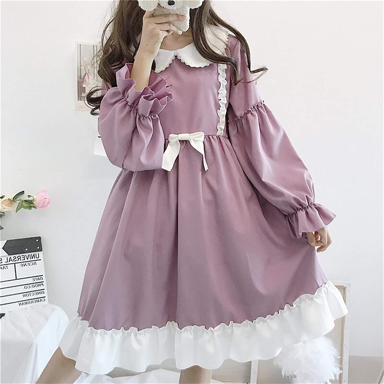 Rpaio Verano Lolita Vestido Diario japonés niña Falda Vestido Vestido Victorian Vestido Dulce Lindo muñeca Collar té Fiesta gótico Lolita té Fiesta