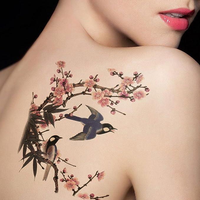 tafly Flores y pájaros Tatuajes temporales Gran Cuerpo de ...