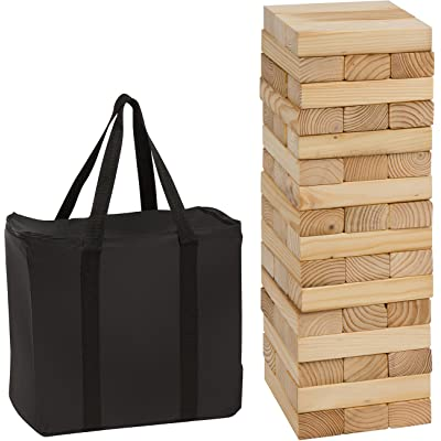 48 Piece 1.5'Tall Giant Wooden Stacking Game with Carry Case by Trademark Innovations
