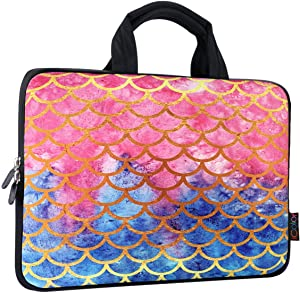 ICOLOR 14 15 15.4 15.6 inch Laptop Bag Case Handle chromebook case Sleeve Computer Protect Case Pouch Holder Notebook Sleeve Neoprene Chromebook Cover Soft Carring Travel Case Mermaid ICB-14