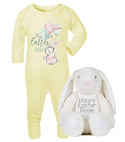 8e56faa36 Personalised My First Easter Babygrow and Bunny Teddy Set New Baby Gifts  Newborn baby Gifts Personalised Babywear Baby Firsts Boys Easter Baby  Outfit: ...