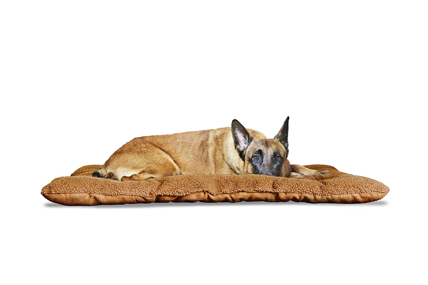 FurHaven Pet Kennel Pad   Reversible Terry & Suede Pet Tufted Pillow Dog Bed for Crates & Kennels, Camel, Jumbo