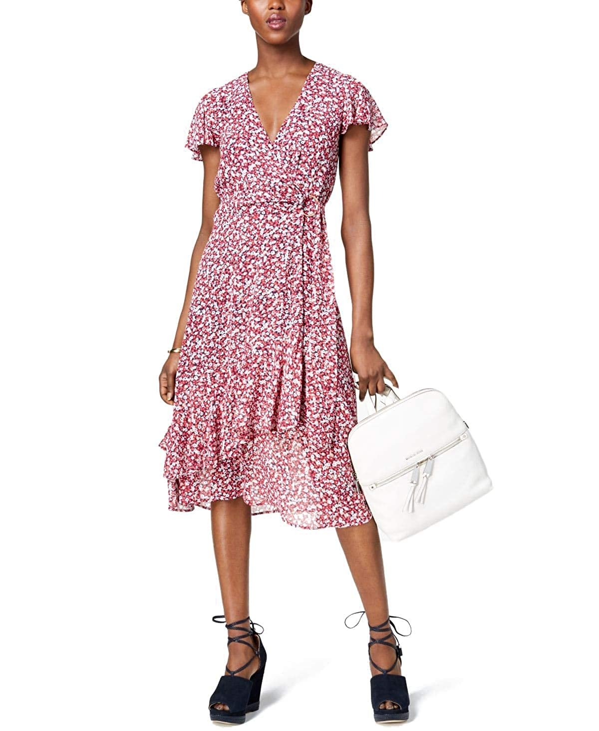 0337f107c1 Michael Michael Kors Micro-Floral Ruffled Wrap Dress at Amazon Women s  Clothing store
