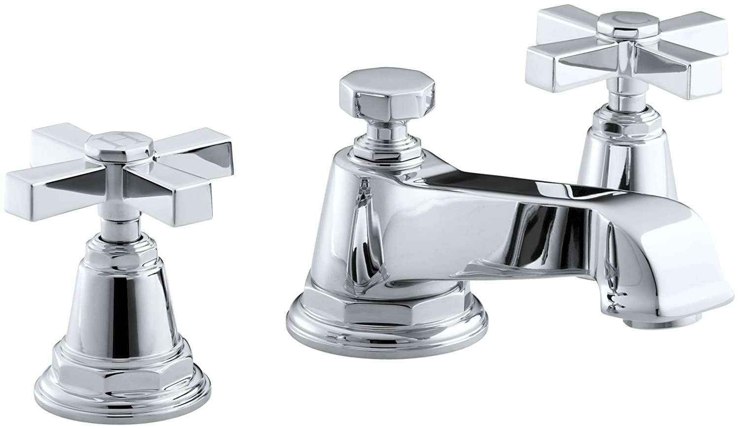 KOHLER K-13132-3A-SN Pinstripe Pure Widespread Lavatory Faucet ...