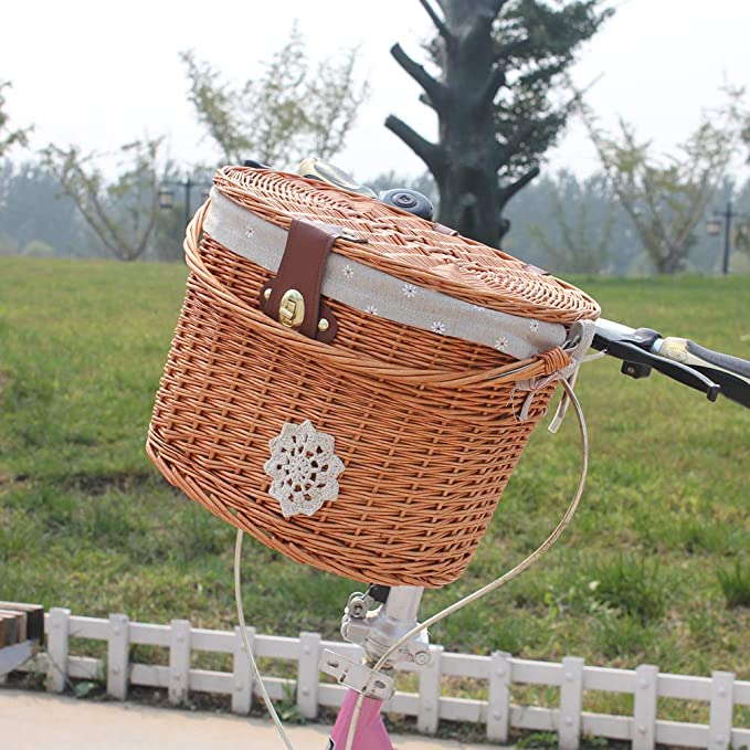 Wicker Woven Basket Handlebar Bike Bicycle Basket Front Box with Lid 35x28x24cm