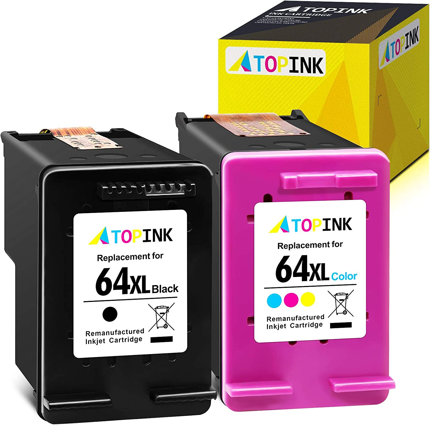ATOPINK Remanufactured Ink Cartridge Replacement for HP 64XL 64 XL Fit in Envy Photo 7800 7158 7164 7855 6222 7155 6255 6252 7858 7120 7130 6220 6230 Tango X Smart All-in-One (Black, Tri-Color) 2-Pack