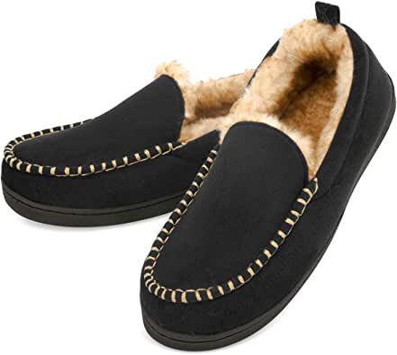 VONMAY Men's Moccasin Slippers Memory Foam Plush Fur Suede House Shoes Anti-Slip Rubber Sole Indoor Outdoor