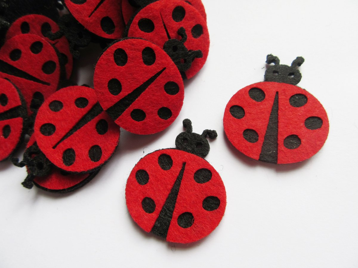 YYCRAFT Pack Of 40 Red 1.5' Padded Felt Ladybug Embellishment Appliques