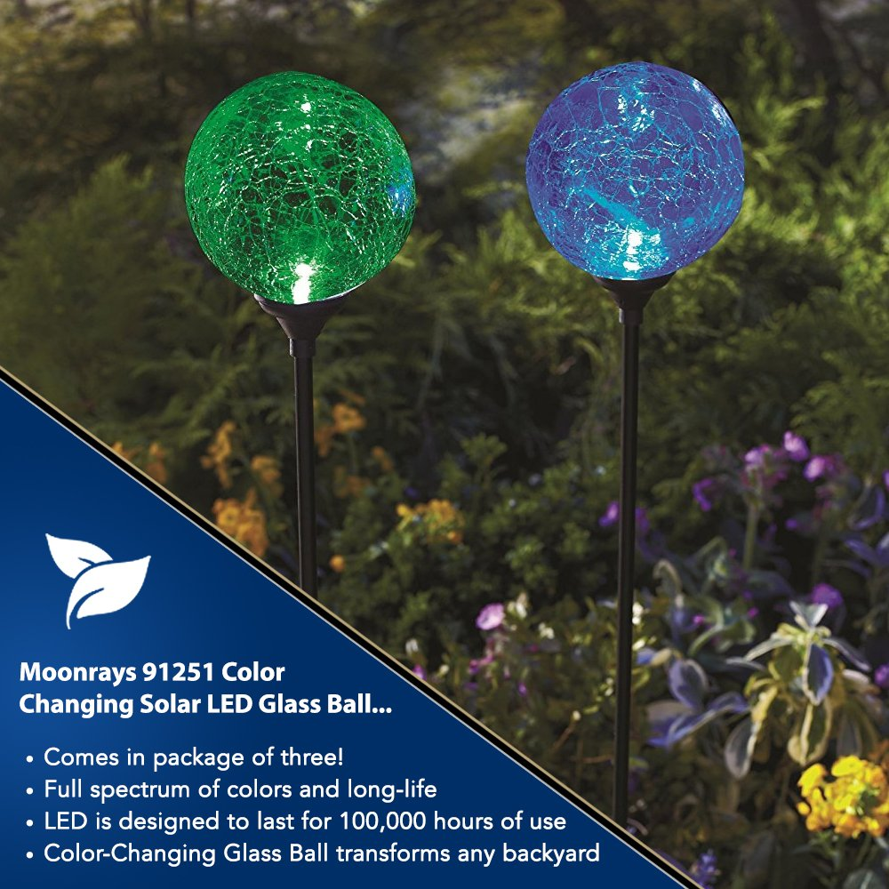 Moonrays Led Solar Path Lights In Glass Ball Design With Garden Light Circuit Board Color Changing Feature 3 Pc Pack Home Improvement