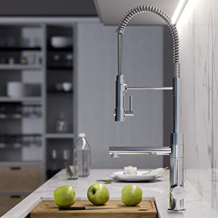 KRAUS KPF-1603CH Atrec 2-Function Commercial Style Pre-Rinse Kitchen Faucet  with Pull-Down Spring Spout and Pot Filler, 24 3/4 inch, Chrome Finish