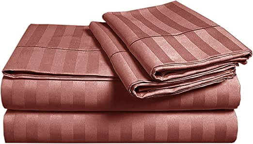 Damask Stripe 500-Thread Count 100/% Egyptian Cotton Twin Sheet Set in Brown