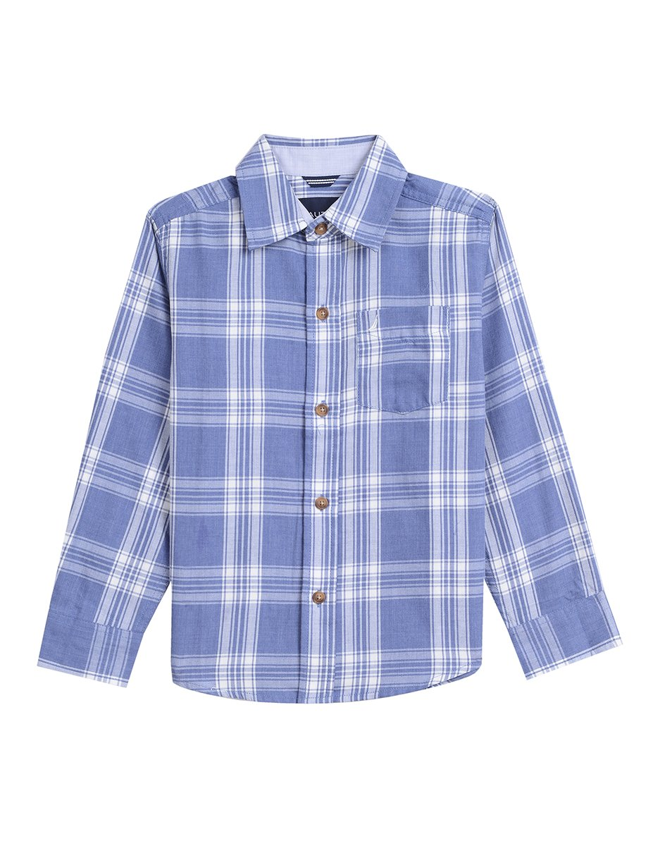 Nautica Boys' Big Long Sleeve Plaid Woven Shirt, Dark Blue, Medium (10/12)