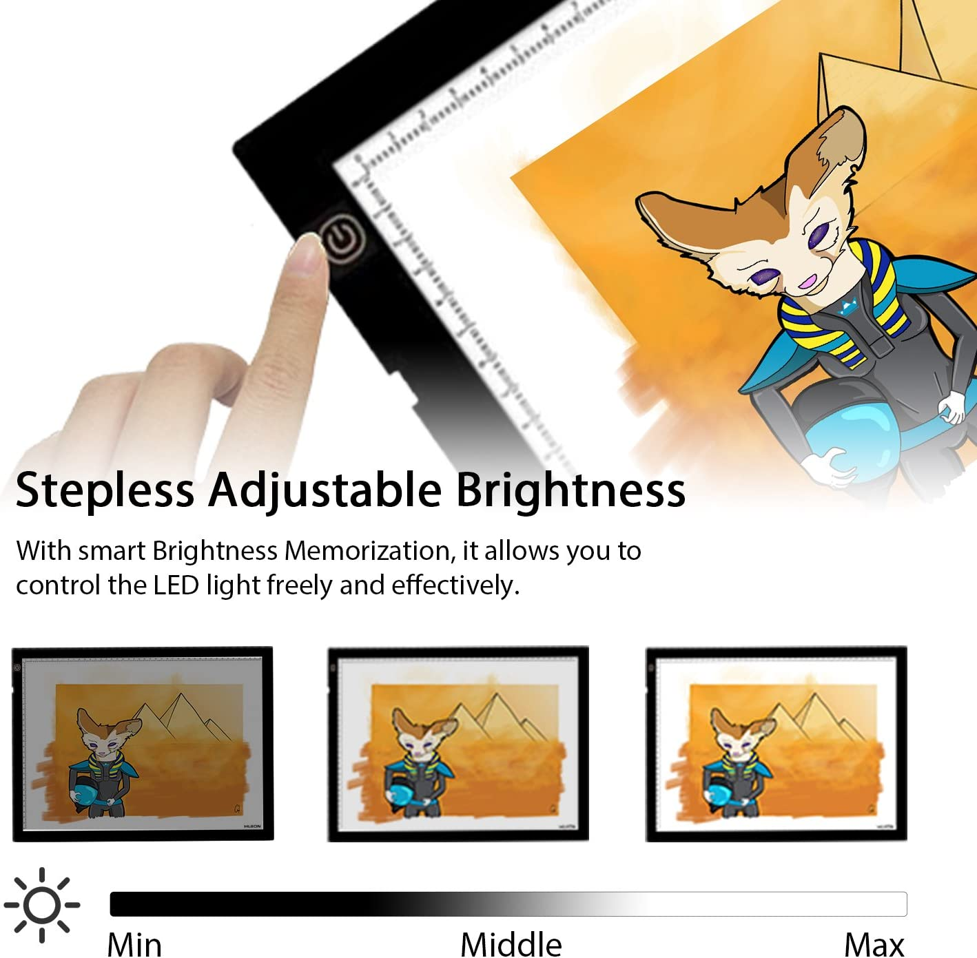 AC Powered Light Pad Adjustable Brightness Huion A2 Large Tracing Light Box 20.47 X 12.6