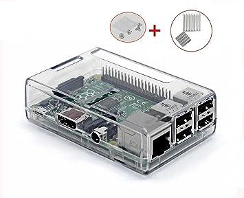 UTRO Carcasa de montaje para Raspberry Pi 3 Modelo B + Set de 2 disipadores térmicos de aluminio. Raspberry Pi 3 Modelo B NO incluida (Clear)