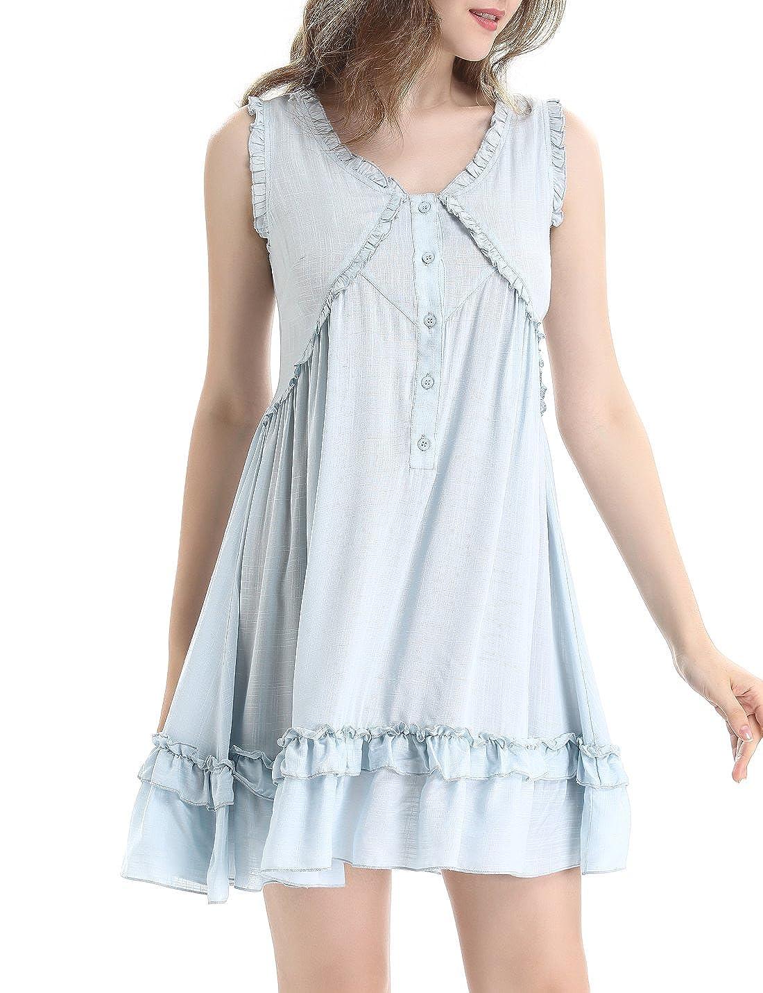 8478523553ea NORA TWIPS Ladies Summer Nightwear, Nighties, Sleeveless Nightgown Women,  Victorian Vintage Nightshirt Sleepwear, Button Front Nightdress:  Amazon.co.uk: ...