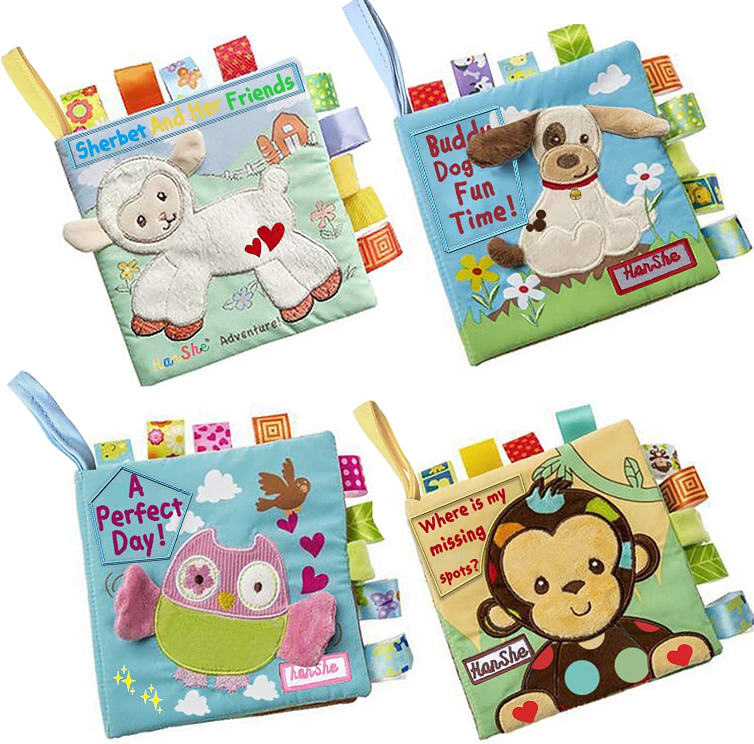 Amazon.com: HanShe Baby Soft Book Cloth Book Set 4 Pack Crinkle Book  Educational Learning Toy for Infant Fabric Baby Activity Crinkle Book for Infants  Toddler for boy Girl Unisex: Toys & Games