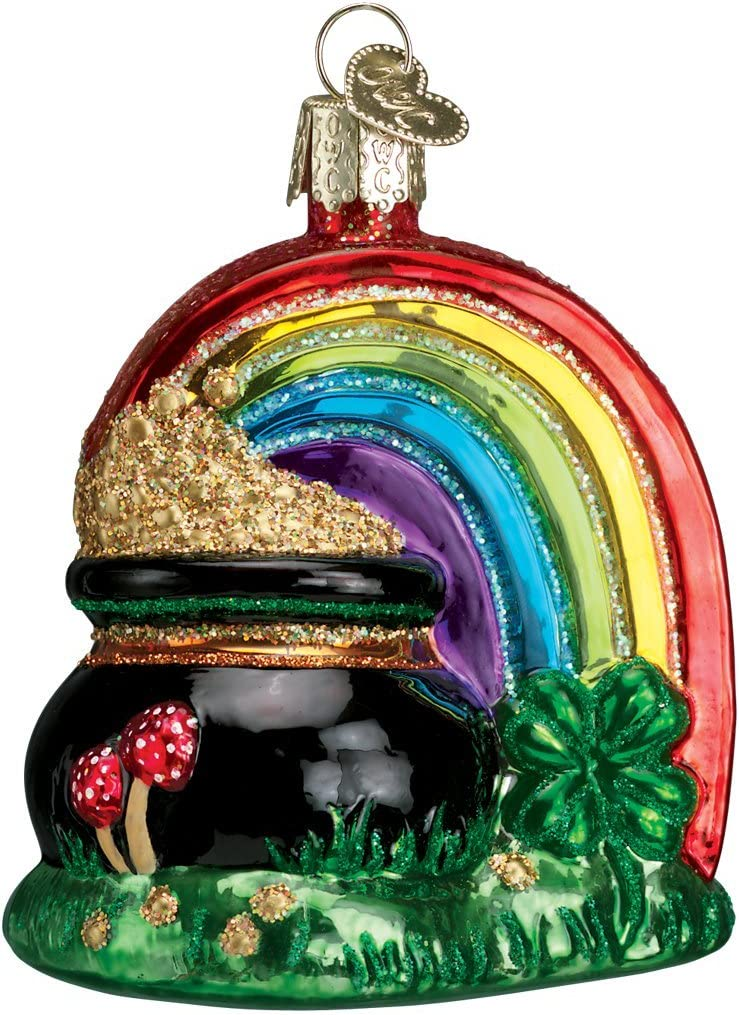 Old World Christmas Irish Gift Collection Glass Blown Ornaments for Christmas Tree Pot of Gold