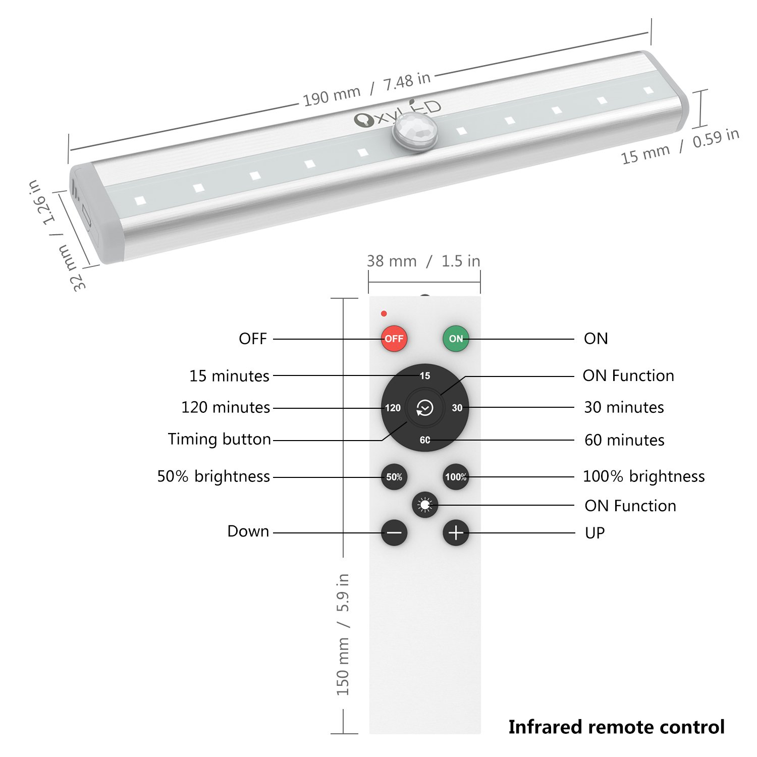 Closet Lights with Remote Control, OxyLED 10-LED Battery Operated Night Lights Cordless Under Cabinet Lighting, LED Night Light Bar with Magnetic Strip for Closet, Cabinet, Wardrobe, Hallway(3 Pack) by OxyLED (Image #7)