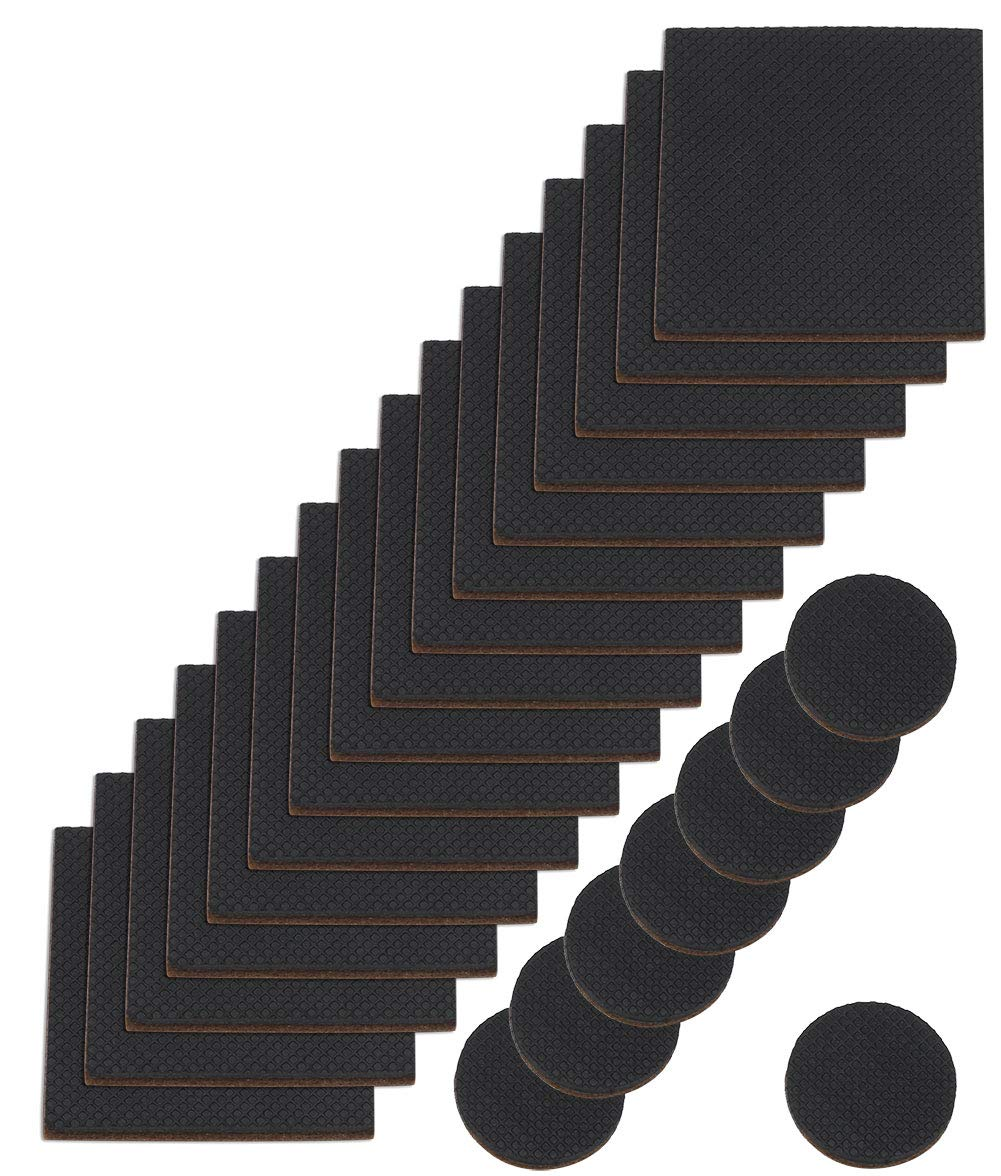 SKKXY 24 Pcs Furniture Grippers Non Slip Furniture Legs Pads Stoppers Self Adhesive Rubber Felt Non Skid Hardwood Floor Protectors for Recliner Bed Couch Chair