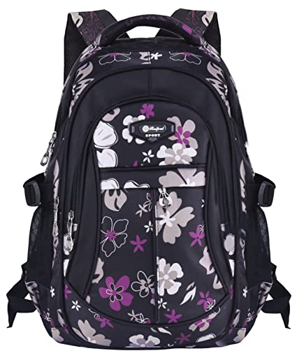 6e361b1c9627 Backpacks for Girls Floral Pattern Polyester School Rucksack Teenage Laptop  Book Bag  Amazon.co.uk  Luggage