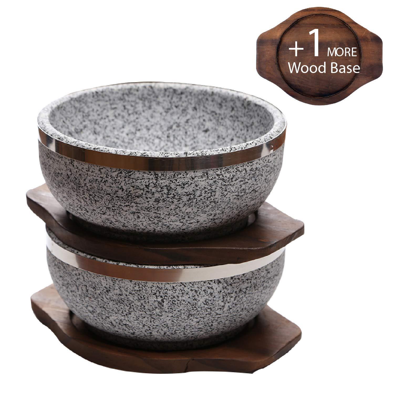 KoreArtStory Dolsot-Bibimbap Stone Bowls 32-Oz(Set of 2 + Wood base 1 More + Bibimbap Recipe) Cooking Korean Soup and Food by KoreArtStory