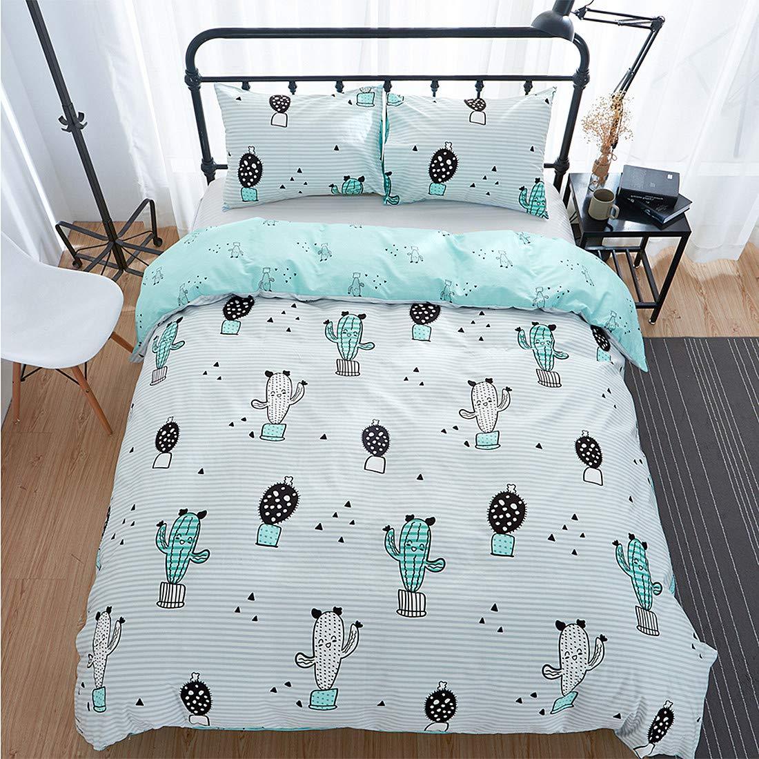 Jumeey Cartoon Cactus Duvet Cover Queen Reversible Striped Bedding Sets Full 100% Cotton 3 Piece Kids Teen Girls Boys Duvet Cover Set with Zipper Closure,Soft,Breathable,No Comforter