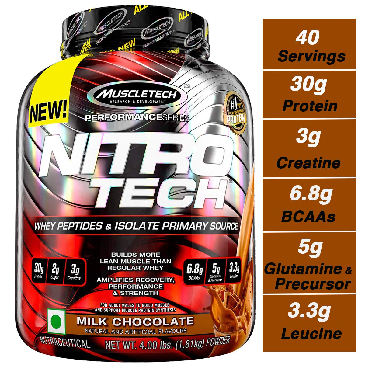 Muscletech NitroTech Protein Powder Plus Creatine Monohydrate Muscle Builder, 100% Whey Protein with Whey Isolate, Milk Chocolate, 40 Servings (4lbs) by MuscleTech