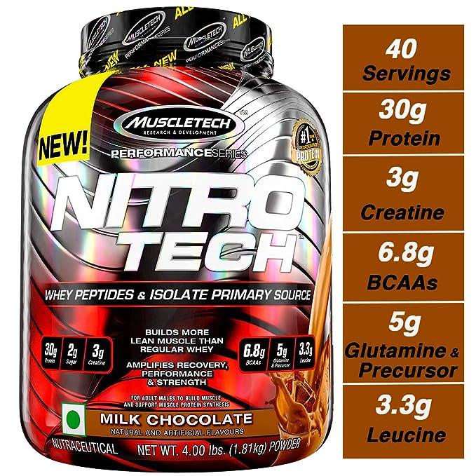 Muscletech Performance Series Nitrotech Whey Protein Peptides & Isolate  (30g Protein, 1g Sugar, 3g Creatine, 6 9 BCAAs, 5g Glutamine & Precursor,