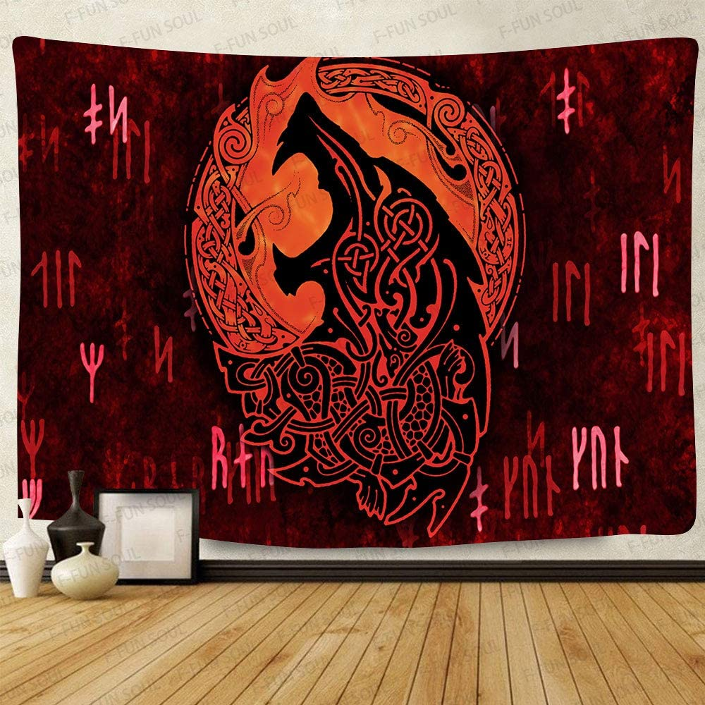 F-FUN SOUL Viking Wolf Tapestry, Large 80x60inches Soft Cotton, Bokeh Runes Ancient Red Psychedelic Wall Hanging Tapestries for Living Room Bedroom Decor GTLSFS8