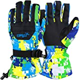 COPOZZ Waterproof Ski Gloves, Windproof Thermal Warm Winter Insulated Motorcycle Snowmobile Snowboarding Skiing Gloves with Zipper Pocket for Men Women & Kids
