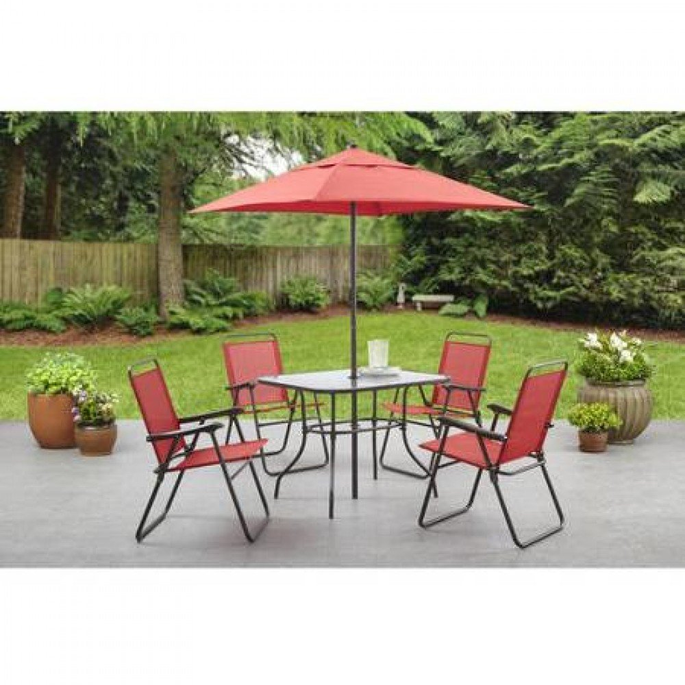 Amazon com mainstays searcy lane 6 piece padded folding patio dining set red seats 4 garden outdoor