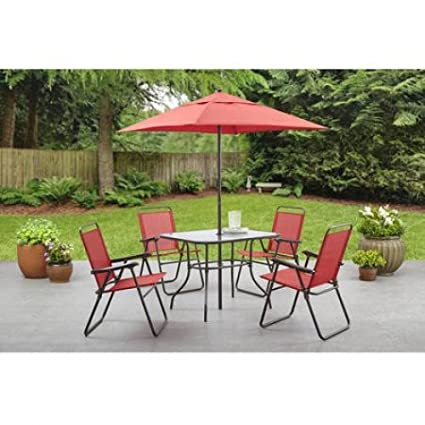 Mainstays Searcy Lane 6-piece Padded Folding Patio Dining Set, Red, Seats 4 - Amazon.com: Mainstays Searcy Lane 6-piece Padded Folding Patio