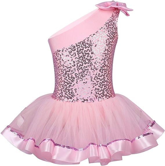 FEESHOW Fille Enfant Robe Danse Classique Salsa Latine Justaucorps de Danse Ballet Tutu Robe Body de Ballet Gym Jupe pliss/é Costume de Danse 5-14 Ans