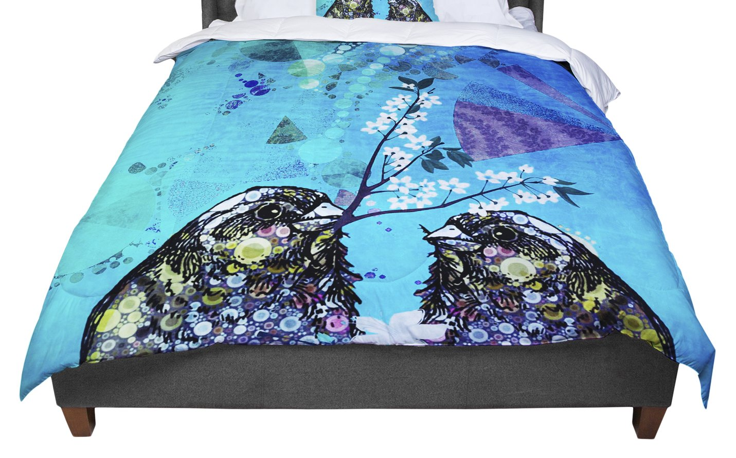 68 X 88 KESS InHouse Alyzen Moonshadow Birds In Love Blue Navy Purple Twin Comforter