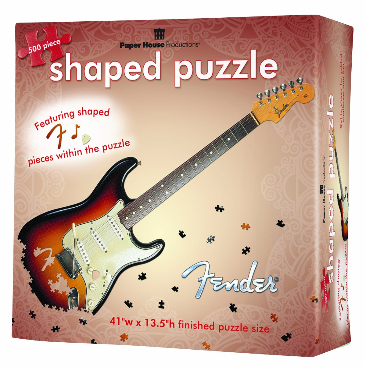 Paper House Productions Jigsaw Shaped Puzzle 12 by 36-Inch , Fender Stratocaster (500 Pieces)