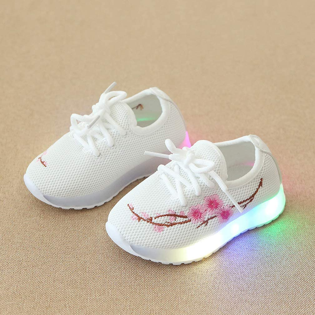Baby Girls LED Luminous Sneakers Mesh Floral Soft Light Up Casual Sport Shoes for 1-6 Years Old Child Kids Toddler