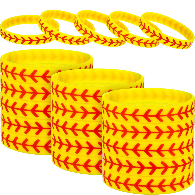48 Packs Softball Bracelet Softball Wristband Silicone Bracelet Softball Gift for Softball Player and Softball Teams by Jovitec