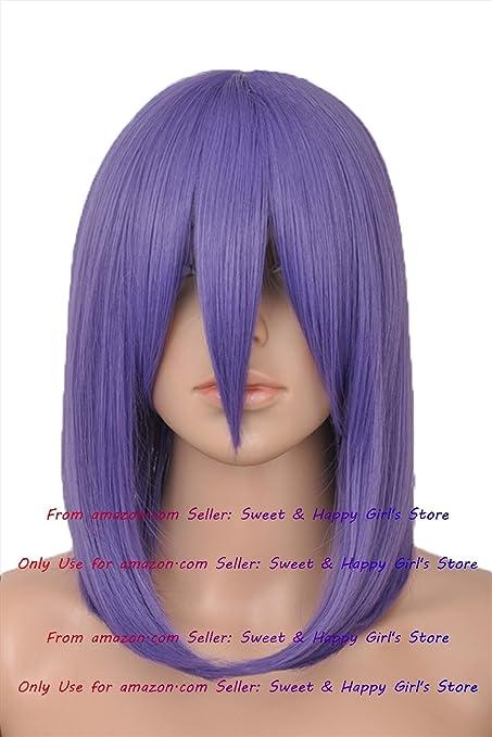 45 cm de largo Hot Sexy moda violeta recta Anime Cosplay Pelucas Fiesta Mascarada Niñas Pelucas