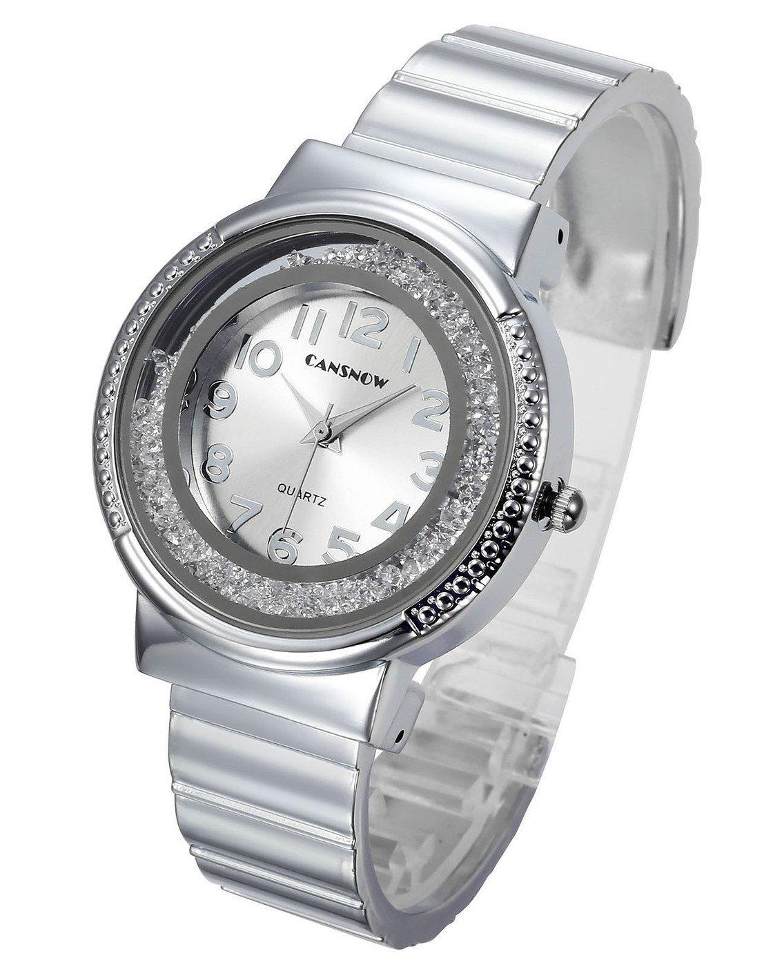 Top Plaza Women Ladies Casual Luxury Gold Silver Rose Gold Tone Alloy Analog Quartz Bracelet Watch Round Case Rhinestones Decorated Elegant Dress Bangle Cuff Wristwatch-Silver #2