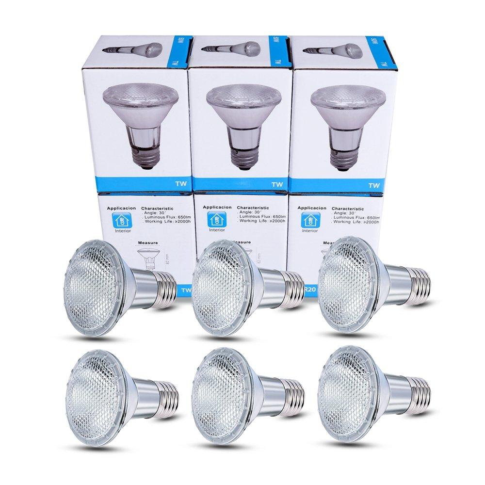 Warm White Lighting Part Facotry 6 Pack 120V 50 Watt Dimmable Halogen Flood Light Bulbs E26 Medium Base Long Lasting Life High Output Reflector Flood Lights Par20 Halogen Bulbs