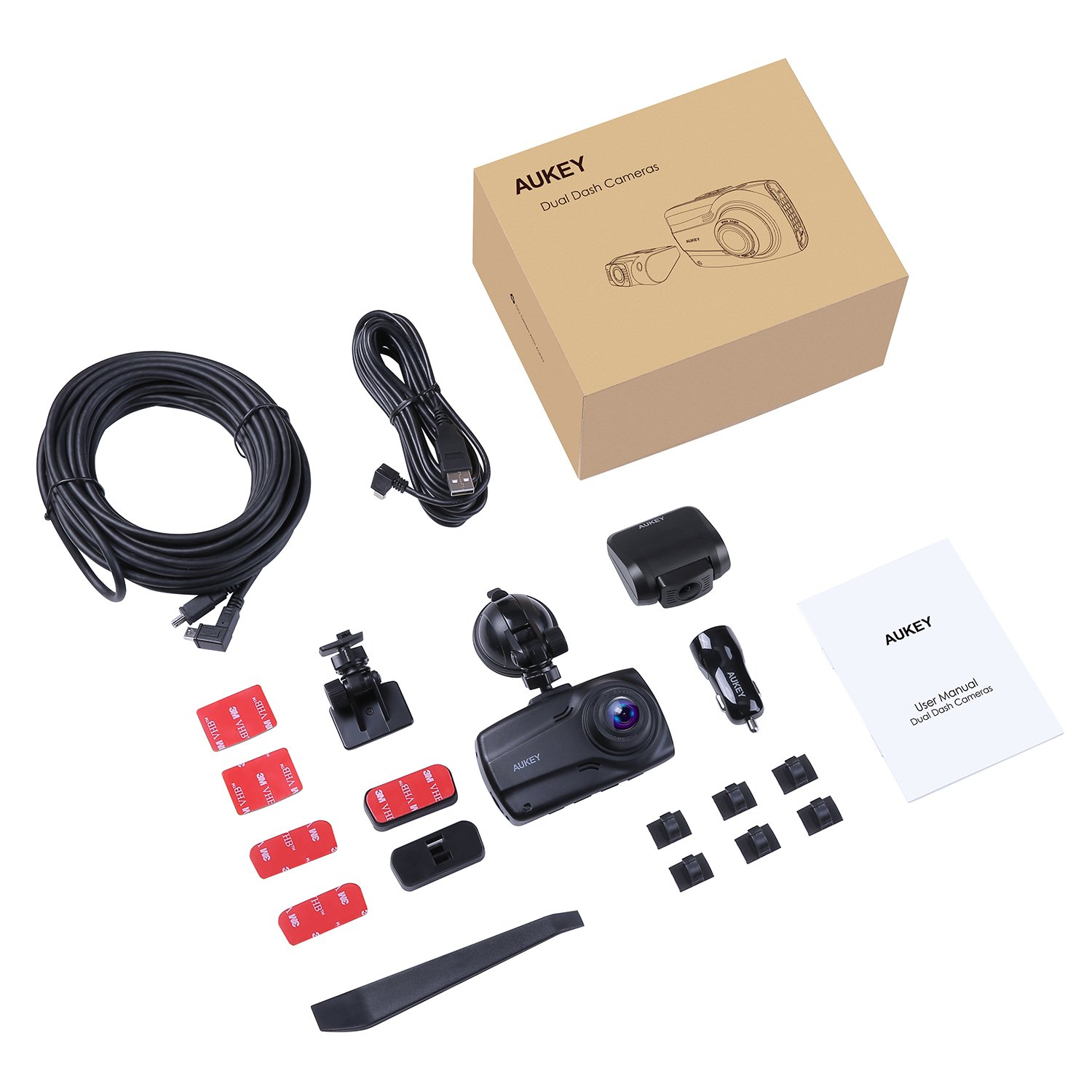 """AUKEY 1080p Dual Dash Cams with 2.7"""" Screen, Full HD Front and Rear Camera, 6-Lane 170° Wide-Angle Lens, G-Sensor, and Dual-Port Car Charger by AUKEY (Image #8)"""