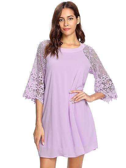 Makemechic Women's Casual Crewneck Half Sleeve Summer Chiffon Tunic Dress by Makemechic