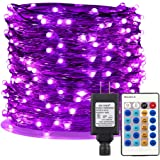 ER CHEN Purple LED String Lights Plug in, 99ft 300 LED Long Fairy Lights Dimmable Remote, Indoor/Outdoor Silver Coated Copper Wire Decorative Lights Bedroom, Patio, Garden, Yard
