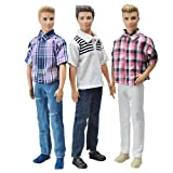 E-TING 3 Sets Casual Wear Plaid Doll Clothes Jacket Pants Outfits for Ken Barbie Dolls Gift
