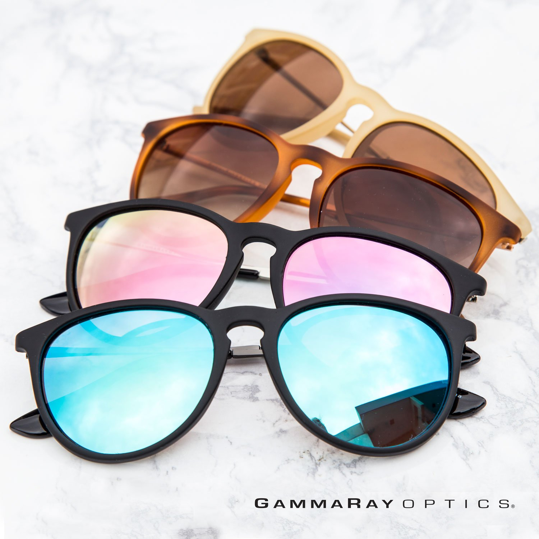 944382b036b Amazon.com  GAMMA RAY Polarized UV400 Vintage Retro Round Sunglasses -  Brown Lens on Matte Beige Frame  Clothing