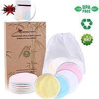 Tampons Démaquillants fibre de bambou丨disques coton demaquillant lavable丨(16pcs) + 2 Sac de lavage丨Fibre de bambou + velours(Devant et dos) 丨Lavable et réutilisable丨Boîte d'emballage biodégradable