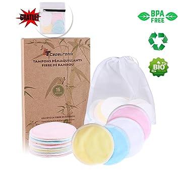 Microfibre Disque démaquillant lavable bio Réutilisable Tampons Démaquillants en Coton écologique Tampons Démaquillants Lavable 16 PCS Tampons Démaquillants Bambou